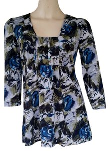Ann Taylor Mesh Blue Floral Top Green
