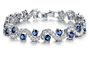 Other 18K WHITE GOLD PLATED SAPPHIRE BLUE CUBIC ZIRCONIA TENNIS BRACELET