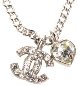 Chanel Necklace Pendant Crystal CC Logo and Heart