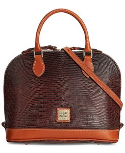 Dooney & Bourke Lizard Leather Satchel in Cognac
