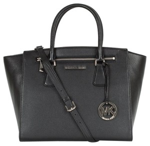 Michael Kors Luxury Handbag Purse Designer Leather Pebbled Leather Soft Leather Sophie Large Crossbody Tote Shoulder Strap Dust Satchel in Black