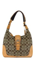 Coach Tan Monogram Canvas Leather Shoulder Bag