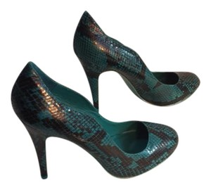 Audrey Brooke Snakeskin New Turquoise Pumps