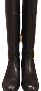 Banana Republic Leather Knee High Buckle Black Boots