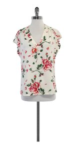Joie Multi Color Floral Print Silk Top White
