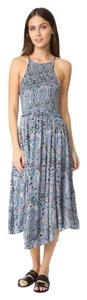 Blue Maxi Dress by Free People New With Tags Slip Feminine Smocked Bodice Floral