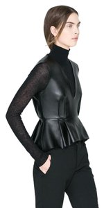 Zara Peplum Peplum Leather V Neck Leather Faux Leather Top black