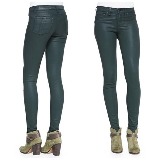 """Item - Green Coated Bone/Jean Cables """"The Legging"""" Skinny Jeans Size 24 (0, XS)"""