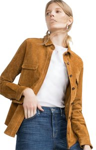 Zara Camel Overshirt Suede Leather Suede Button Down Shirt Tan