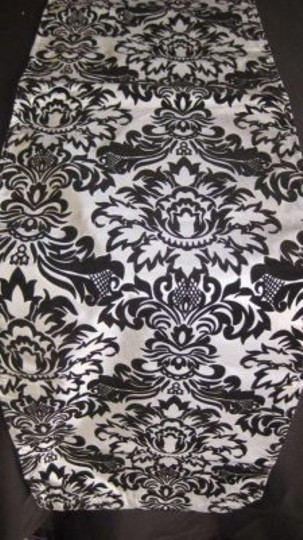 Damask Dark Silver/Black Table Runners Lot Tablecloth