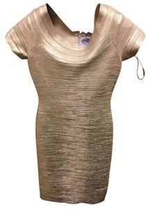Hervé Leger Bandage Boatneck Foil Rose Dress