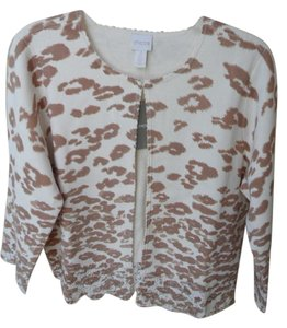 Chico's Cheetah Print New Lace Hem Short Cardigan