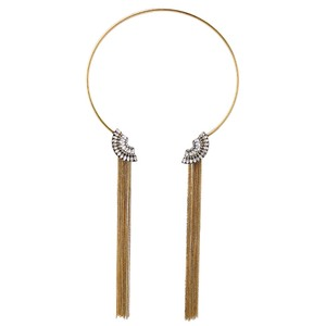 Other Gold Crystal Scallop Collar Tassel Necklace