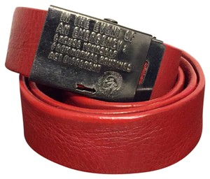 Diesel Diesel Red Leather Emergency Buckle Gunmetal Belt