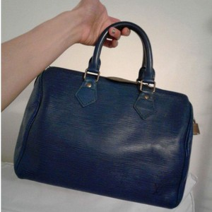 Louis Vuitton Speedy 25 Epi Vintage Leather Handbag Satchel in Blue