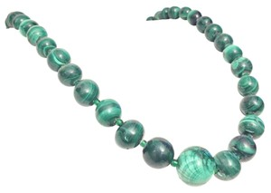 Heavy Antique Malachite Beaded Graduated Necklace Strand
