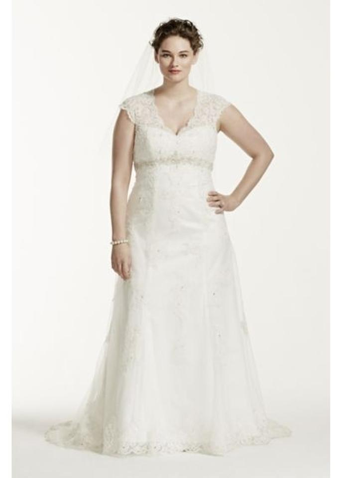 David\'s Bridal Ivory Imported Polyester Cap Sleeve Lace Over Satin ...