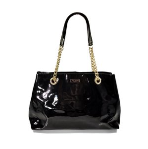 Kate Spade Patent Leather Gold Hardware Chain Large Tote in Black
