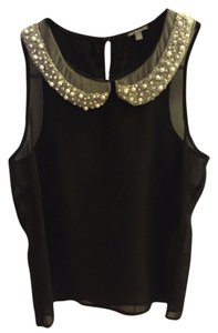 Charlotte Russe Pearl Studded Sheer Top Black/White pearls on collar