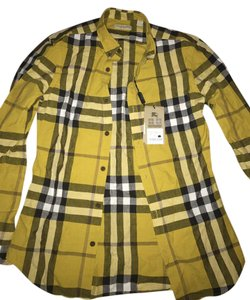 Burberry Button Down Shirt Yellow and black white
