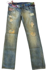 Desigual Straight Leg Jeans-Light Wash
