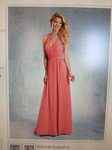 Alfred Angelo Coral Crisscross Back Straps Long Bridesmaid Gown Dress
