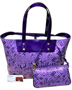 Louis Vuitton Limited Edition Patent Leather Leather Pinstripe Pop Tote in Purple