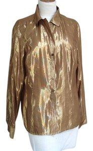 Jones New York Soft Fabric Chiffon Lining Top Gold