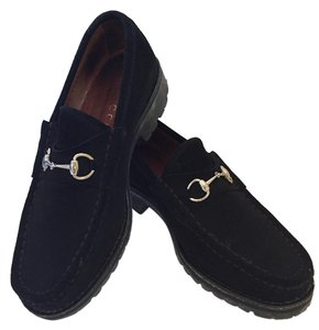Gucci Suede Loafers Black Flats