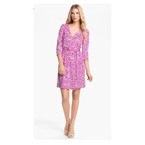 Diane von Furstenberg short dress Wrap Three Quarter Pink on Tradesy