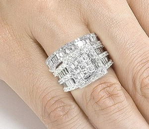 Engagement Wedding Ring Set* Sz 8 Only *diamond Cz *