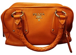 Prada Silverhardware Pebbledleather Braidedhandle Satchel in Orange