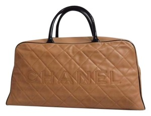 Chanel Caviar Brown Black Beige Tan Bicolor Travel Bag