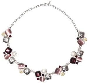 Sterling Silver Pewter Plated Resin Purple Gemstone Cluster Chain