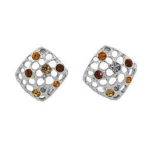 Pewter Encrusted Hollow Rhinestone French Clip On Earrings