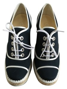 Chanel Lace Up Navy Wedges