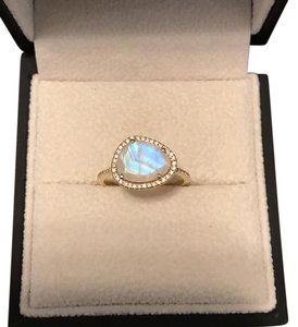 Luna Skye by Samantha Conn 14kt Gold And Diamond Single Band Moonstone Ring by Luna Skye