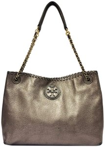 3714eb200359 Tory Burch Leather Metallic Leather Slouchy Tote Marion Chain Shoulder Bag