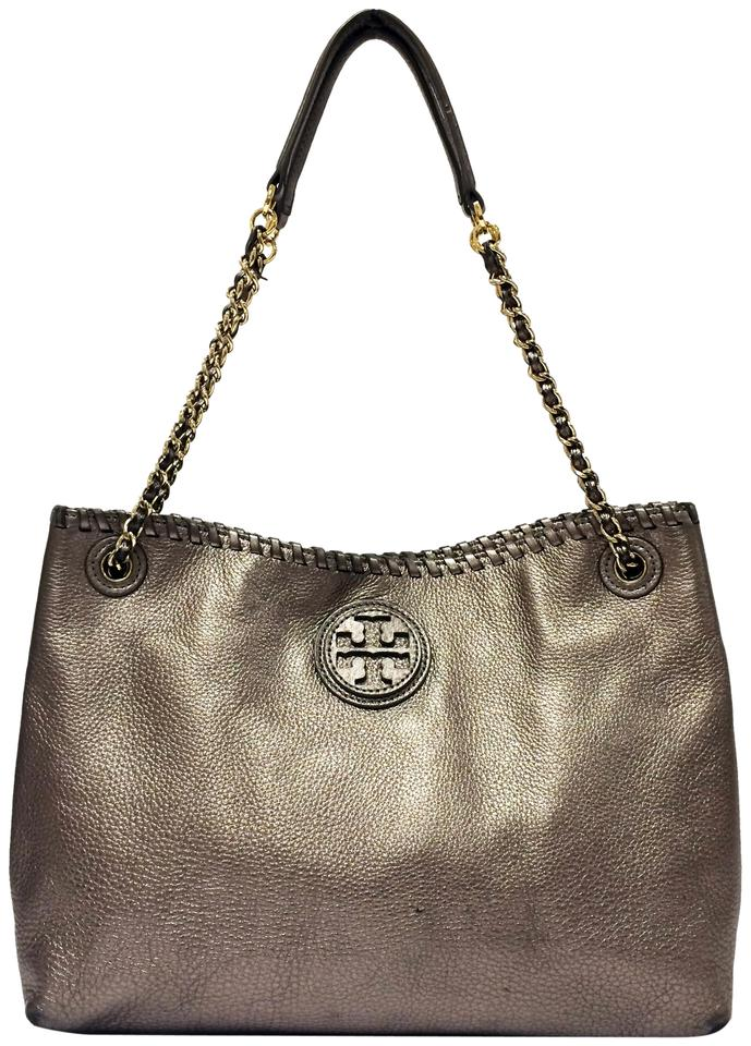Tory Burch Tote Marion Slouchy Silver Leather Shoulder Bag 34 Off Retail