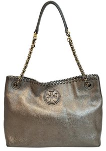 Tory Burch Leather Metallic Leather Slouchy Tote Marion Chain Shoulder Bag