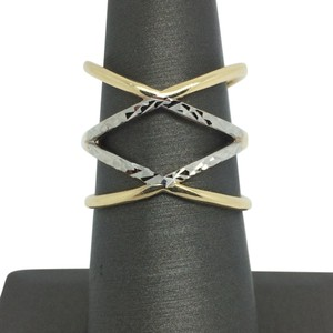 Other 14K Two-Tone Gold Double X Crisscross Diamond Cut Ring
