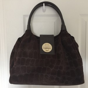Kate Spade Crocodile Suede Satchel in Brown