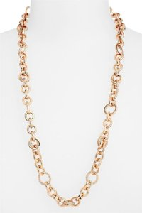 Michael Kors NWT Brilliance ROSE GOLD Chain Pave Necklace MKJ3459791