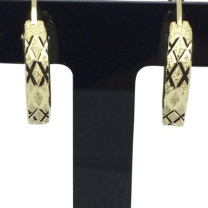 Other 14K Yellow Gold Sand Diamond Cut Hoop Earrings