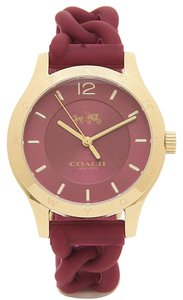 Coach Coach Maddy Gold Plated Braided Rubber Strap Watch - W6043