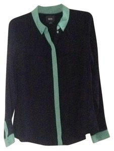 Anthropologie Button Down Shirt Navy blue with mint green trim.
