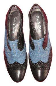 Pour La Victoire Leather Denim Oxfords Brogues Blue and Black Flats