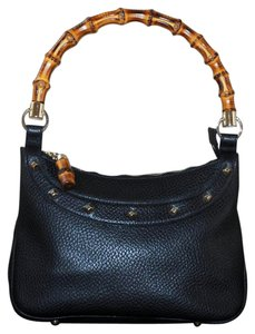 Gucci Made In Italy Studded Bamboo Satchel in Black