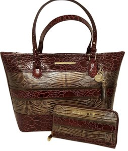 Brahmin Medium Suri Wallet Leather Tote in Boysenberry Churchill