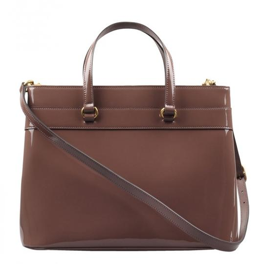 Gucci Patent Leather Horsebit Gold Hardware Patent Structured Satchel in Pink Image 3